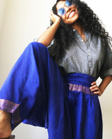 Harem Pant With Sari Border Light Blue - Size S/M