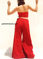All New Bell Bottoms - Palazzo Wide Leg Pant - Pretty Red Block Print
