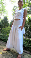Harem Pant in WHITE ORGANIC Cotton, FAIR TRADE - S/M