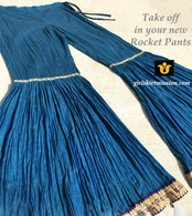ALL NEW Rocket Pants - Crushed Bell Bottoms - Blue M/L