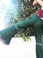 ALL NEW Rocket Pants -Crushed Bell Bottoms - Green STRIPES - XS/S