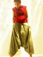 Harem Pant With Sari Border Sage - Size  XS/S
