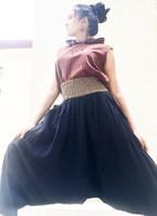 Harem Pant With Jute Border Black - Size  XS/S