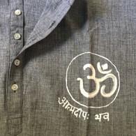 ALL NEW 100% Cotton Kurta Shirts in Two-Tone  GRAY AUM (UNISEX) - XL