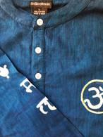 ALL NEW 100% Cotton Kurta Shirts in Two-Tone Blue AUM (UNISEX) - L