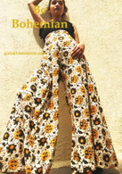 ALL NEW BELL BOTTOMS - Palazzo Wide Leg Pant - Gorgeous Gold Flowers - M/L/XL