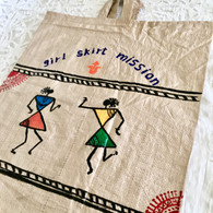 Beautiful Hand Painted Warli Art Up-Cycled Bag #9 - Free with Rocket Pant Purchase
