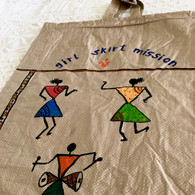 Beautiful Hand Painted Warli Art Up-Cycled Bag #12 - Free with Rocket Pant Purchase