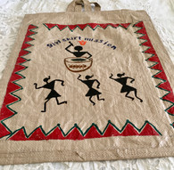 Beautiful Hand Painted Warli Art Up-Cycled Bag #14 - Free with Rocket Pant Purchase