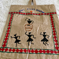 Beautiful Hand Painted Warli Art Up-Cycled Bag #19 - Free with Rocket Pant Purchase