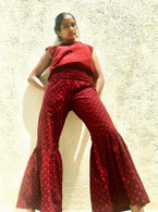 ALL NEW Elastic Baby Rocket Pants  - Bell Bottoms - BURGUNDY - S/M/L