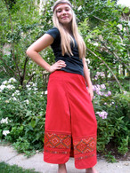Red Wrap Around Skirt -XS