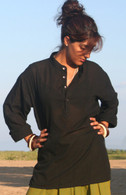 Shirts Women's Kurta Shirt - BLACK  (Women's) - Small