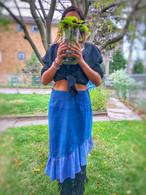 Short Ruffle Skirt in Blue