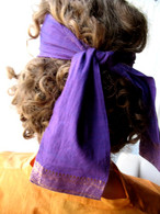 Headband Fabric With Sari Border - PURPLE - FREE with $30 ORDER!