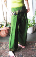 UNISEX ORGANIC INDIAN TRIM YOGA PANT in DARK GREEN - XS ONLY
