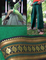 Unisex ORGANIC Indian Trim Yoga Pant in TWO-TONE GREEN/STAR