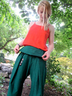 Unisex ORGANIC Indian Trim Yoga Pant in TWO-TONE GREEN/STAR - M-L-XL