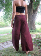 ALL NEW UNISEX Solid Yoga Pant in Hand Loom Cotton - BURGUNDY