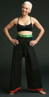 Unisex Indian Wrap Yoga Pants - Black  RED/GREEN BORDER - XL ONLY