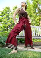 Unisex Organic Indian Trim Yoga Pant in TWO-TONE RED -Star Border- XL