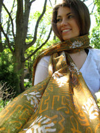 Bhatik Long COLOFUL 100% Cotton Scarf - Fair Trade - Green Leaves