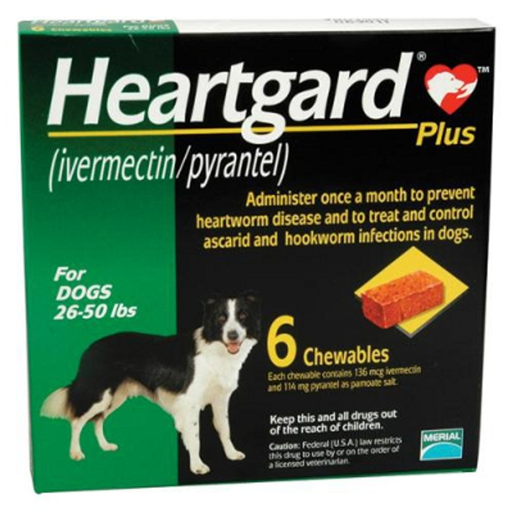 Heartgard Plus Chewables for Dogs 26-50 lbs - Green 6 Pack
