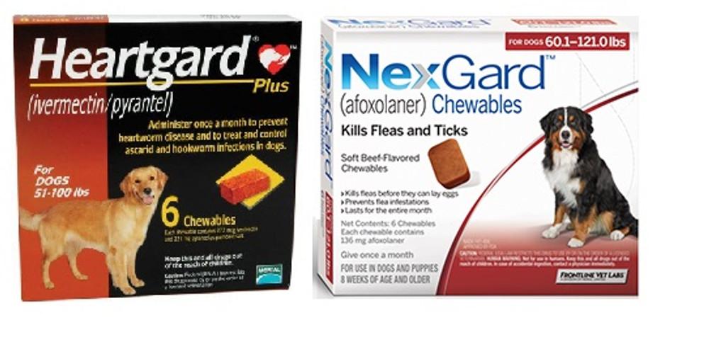 Nexgard And Heartgard Combo For Dogs 60 1 100 Lbs 6 Pack