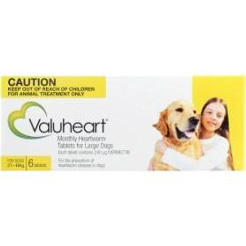 Valuheart Monthly Heartworm Tablets for Large Dogs 45-88 lbs - Gold 6 Pack