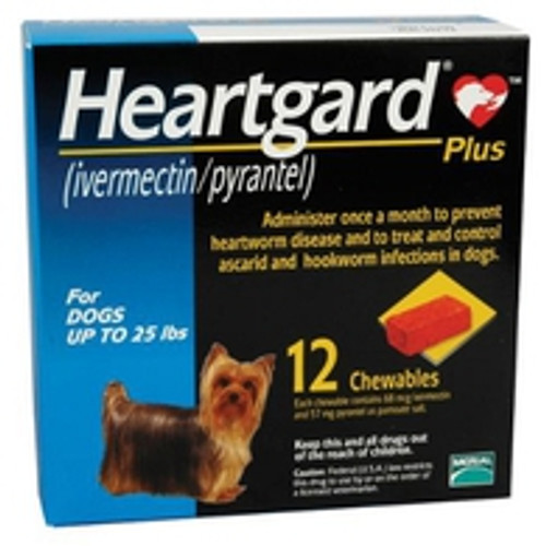 Heartgard Plus Chewables for Dogs up to 25 lbs - Blue 12 Pack