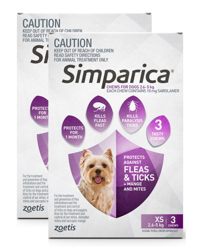 Simparica For Small Dogs & Puppies 6-11lbs (2.6-5kg) - 6 Chews