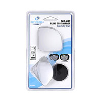 "HD Frameless Blind Spot Mirror - Fan Shaped 2.5"" Convex Glass Mirror Pack of 2"