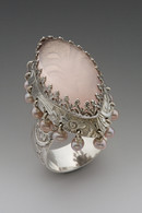Sterling silver Princess ring with Rose Quartz and hanging pink pearls size