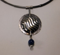 Sterling silver pendant with a Lapis bead