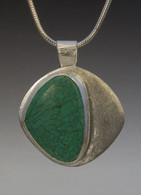 """turquoise and sterling silver pendant on a 16"""" sterling snake chain"""