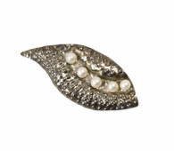 Sterling silver and pearls brooch