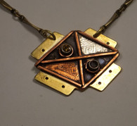 Brass pendant with etched copper and sterling silver accents - Citrine and garnet - oxidized forged brass chain with copper clasp