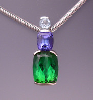 tourmaline, tanzanite, aquamarine necklace
