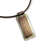 """Rustic Pendant  - Etched copper in a sterling silver setting  - sterling silver chain  - approx. 1"""" x 2.5"""""""
