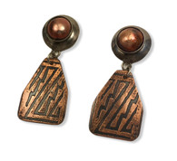 "Rustic Earrings - sterling silver, enameled disc,with etched copper dangle  silver posts   .75"" x1.75"""