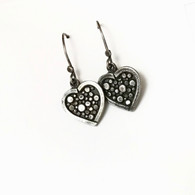Sterling Heart Dot Earrings