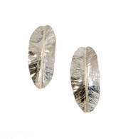 Fold-formed sterling silver leaf earrings