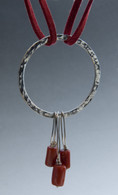 Sterling ring pendant with Italian red coral and red suede cord