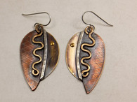 Etched sterling silver, copper, brass and gold fill earrings with sqiggles