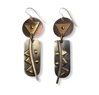 Sterling silver, copper, brass and gold fill earrings with hammered details and brass rivets