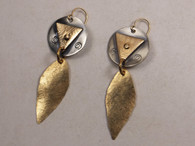 Etched sterling silver, copper, brass and gold fill earrings with gold fill dangle