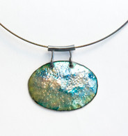 SS neckwire, SS and enamel on copper blue/green pendant