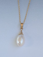 14K gold and teardrop pearl pendant