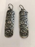 Sterling Silver Long Circle Earrings