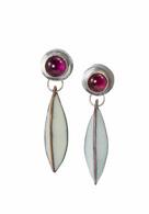 Enamel pod earrings in Sterling Silver and rhodolite garnet